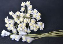 WHITE (Light Green stem) GYPSOPHILA / FORGET ME NOT with Beads Mulberry Paper Flowers